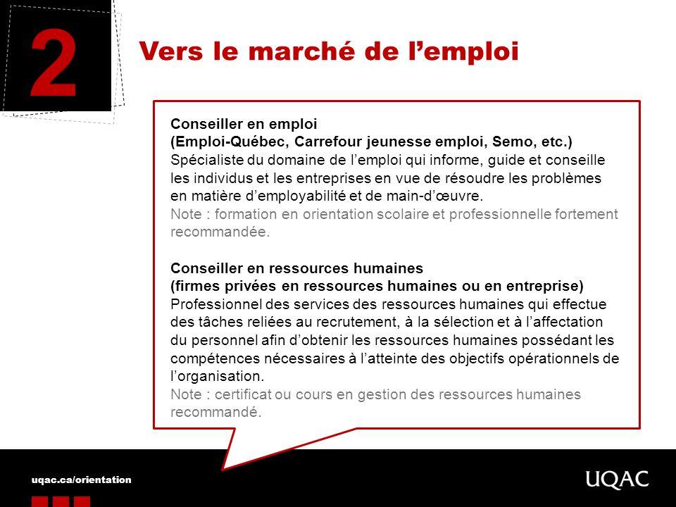 uqac.ca/orientation Vers le marché de lemploi 2 Conseiller en emploi (Emploi-Québec, Carrefour jeunesse emploi, Semo, etc.) Spécialiste du domaine de