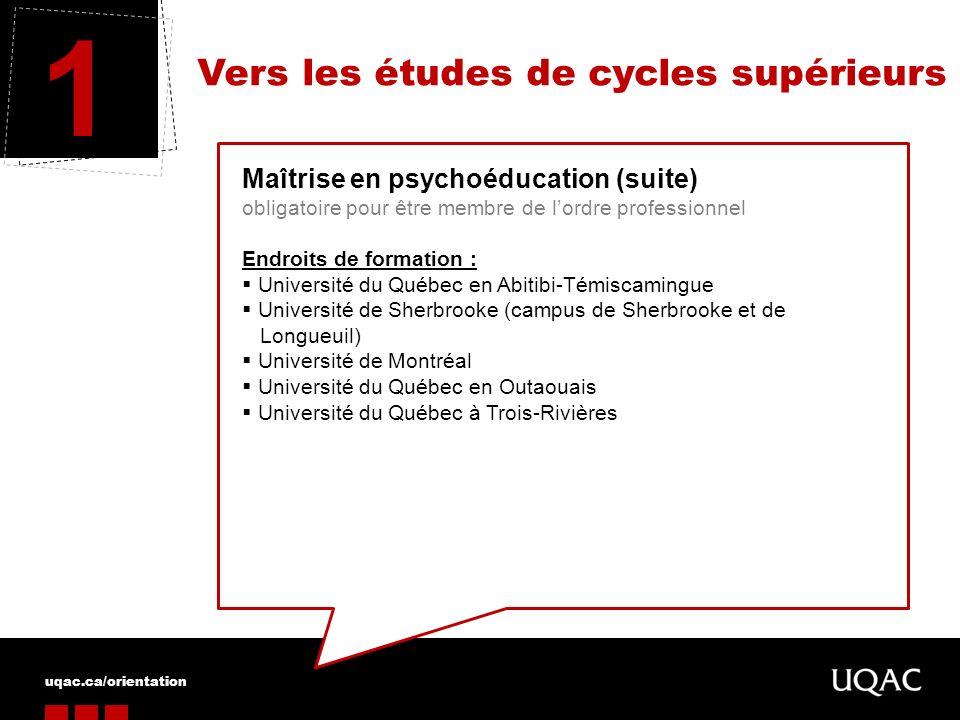 uqac.ca/orientation Vers les études de cycles supérieurs 1 Maîtrise en orthophonie (suite) obligatoire pour être membre de lordre professionnel Endroits de formation : Université de Montréal Université Laval Université dOttawa Université du Québec à Trois-Rivières
