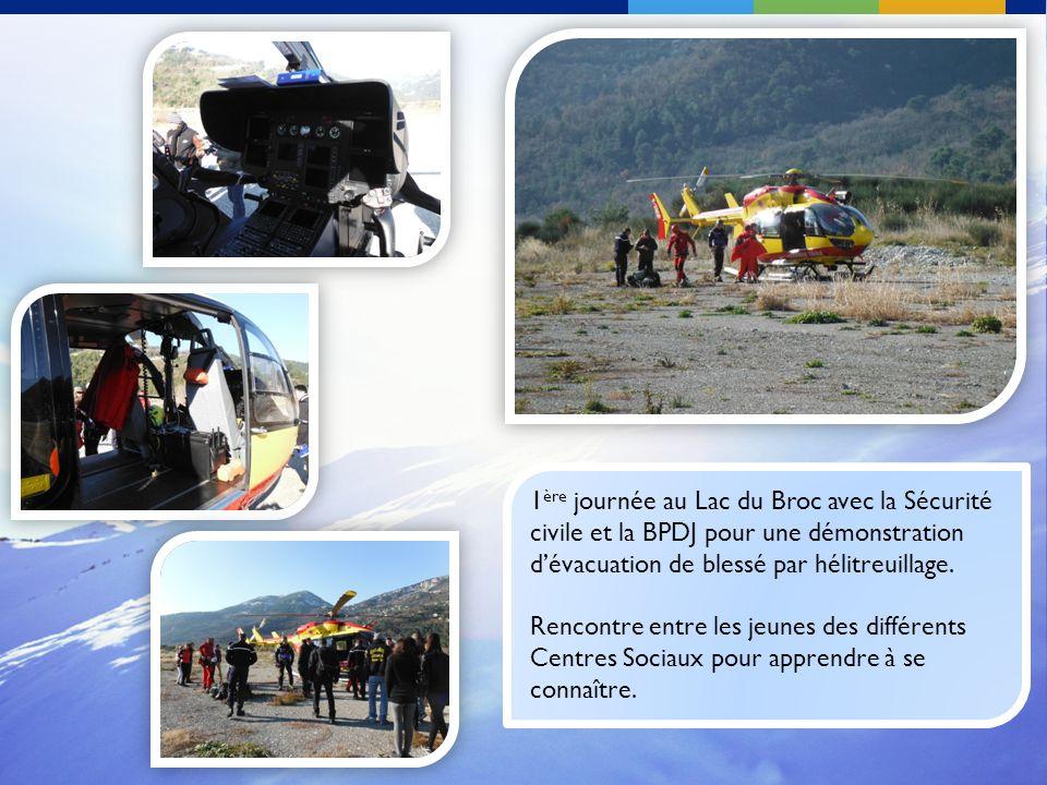 1 ère journée au Lac du Broc avec la Sécurité civile et la BPDJ pour une démonstration dévacuation de blessé par hélitreuillage. Rencontre entre les j