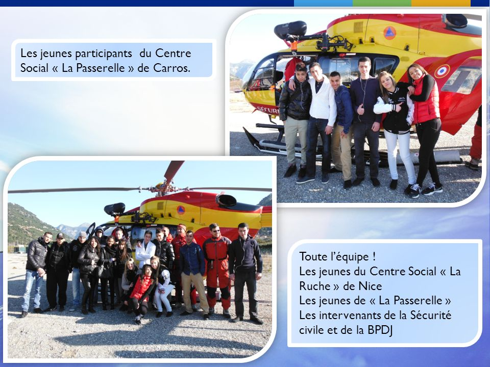 Les jeunes participants du Centre Social « La Passerelle » de Carros. Toute léquipe ! Les jeunes du Centre Social « La Ruche » de Nice Les jeunes de «