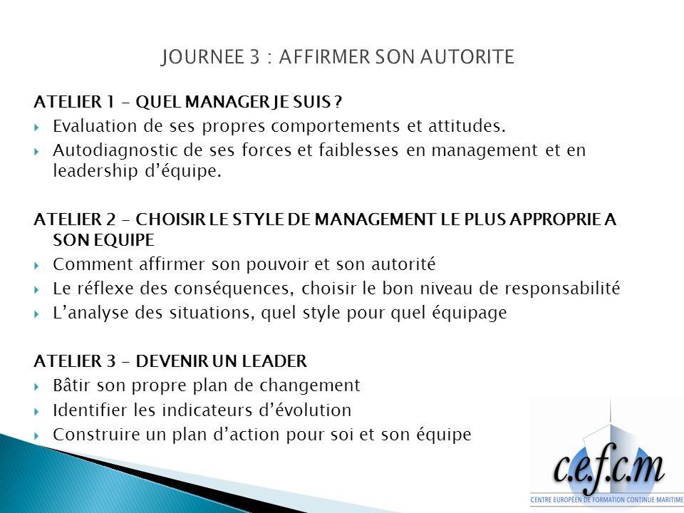 ATELIER 1 – QUEL MANAGER JE SUIS .Evaluation de ses propres comportements et attitudes.