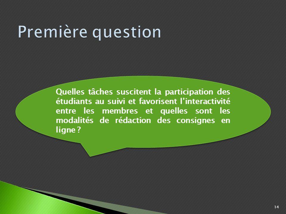 14 Quelles tâches suscitent la participation des étudiants au suivi et favorisent linteractivité entre les membres et quelles sont les modalités de rédaction des consignes en ligne