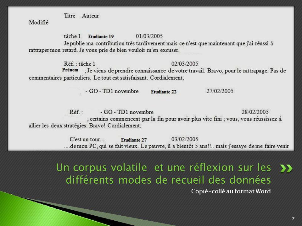 Copié-collé au format Word 7 Un corpus volatile et une réflexion sur les différents modes de recueil des données