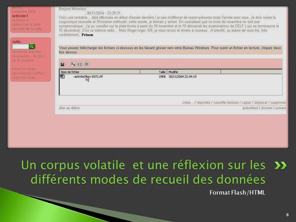 Format Flash/HTML 8 Un corpus volatile et une réflexion sur les différents modes de recueil des données