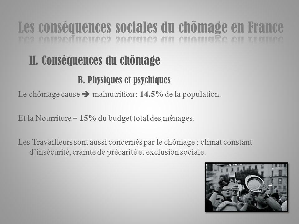 II. Conséquences du chômage B. Physiques et psychiques Le chômage cause malnutrition : 14.5% de la population. Et la Nourriture = 15% du budget total