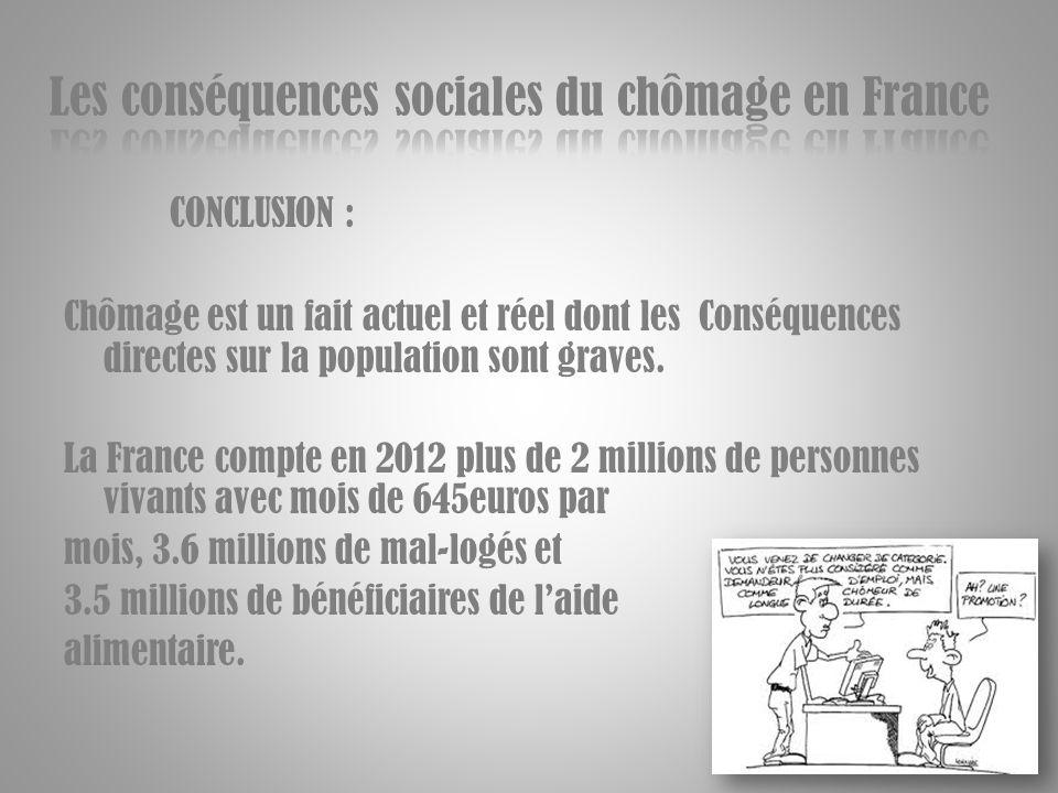 CONCLUSION : Chômage est un fait actuel et réel dont les Conséquences directes sur la population sont graves. La France compte en 2012 plus de 2 milli