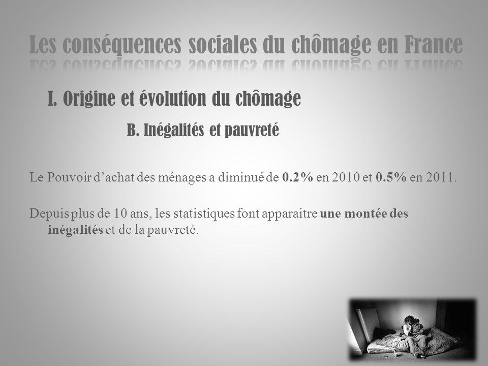 I. Origine et évolution du chômage B. Inégalités et pauvreté Le Pouvoir dachat des ménages a diminué de 0.2% en 2010 et 0.5% en 2011. Depuis plus de 1