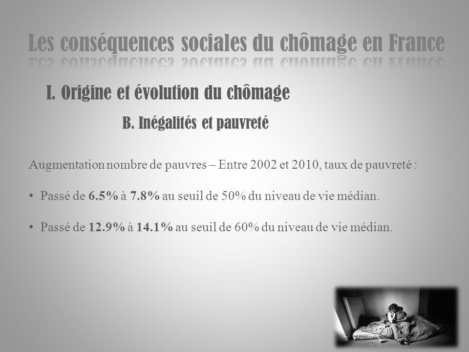 I. Origine et évolution du chômage B. Inégalités et pauvreté Augmentation nombre de pauvres – Entre 2002 et 2010, taux de pauvreté : Passé de 6.5% à 7