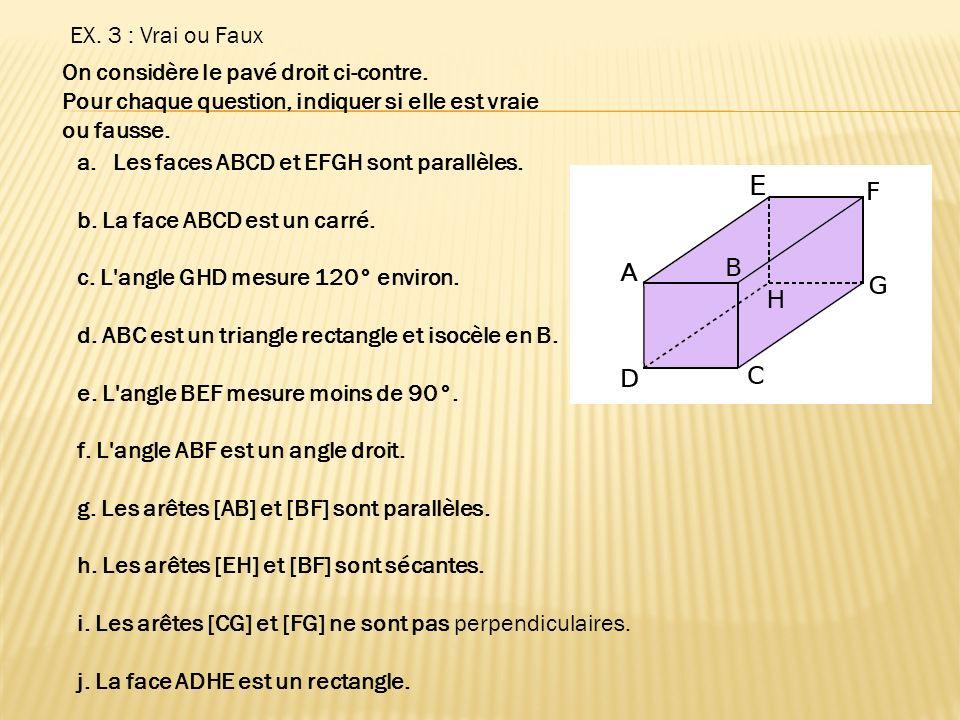 EX. 3 : Vrai ou Faux On considère le pavé droit ci-contre. Pour chaque question, indiquer si elle est vraie ou fausse. a.Les faces ABCD et EFGH sont p