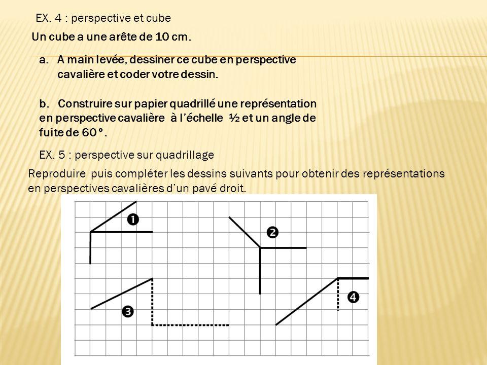 EX. 4 : perspective et cube Un cube a une arête de 10 cm. a.A main levée, dessiner ce cube en perspective cavalière et coder votre dessin. b. Construi