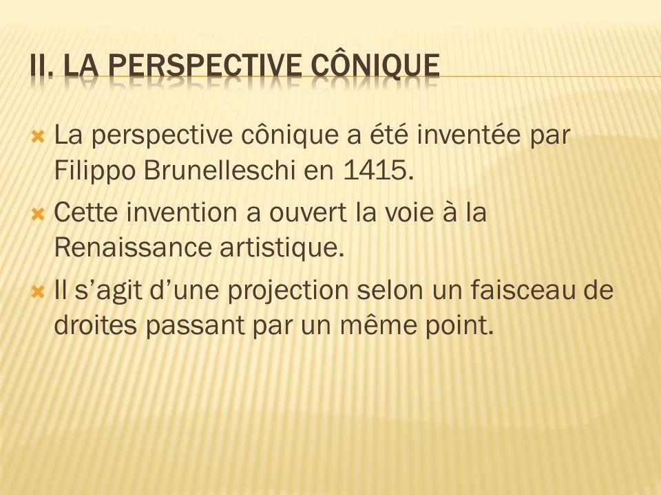 La perspective cônique a été inventée par Filippo Brunelleschi en 1415. Cette invention a ouvert la voie à la Renaissance artistique. Il sagit dune pr