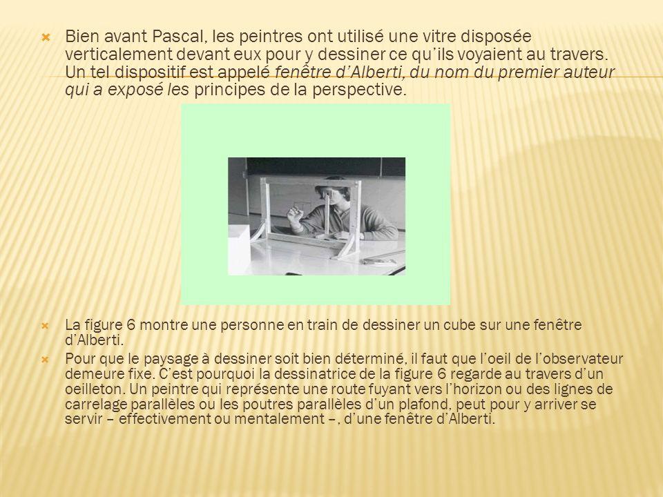 Bien avant Pascal, les peintres ont utilisé une vitre disposée verticalement devant eux pour y dessiner ce quils voyaient au travers. Un tel dispositi