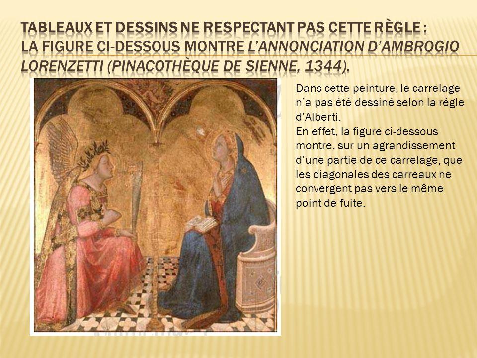 Dans cette peinture, le carrelage na pas été dessiné selon la règle dAlberti. En effet, la figure ci-dessous montre, sur un agrandissement dune partie