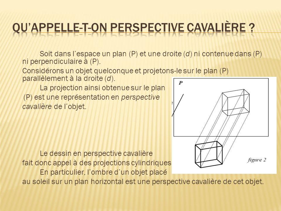 Soit dans lespace un plan (P) et une droite (d) ni contenue dans (P) ni perpendiculaire à (P). Considérons un objet quelconque et projetons-le sur le