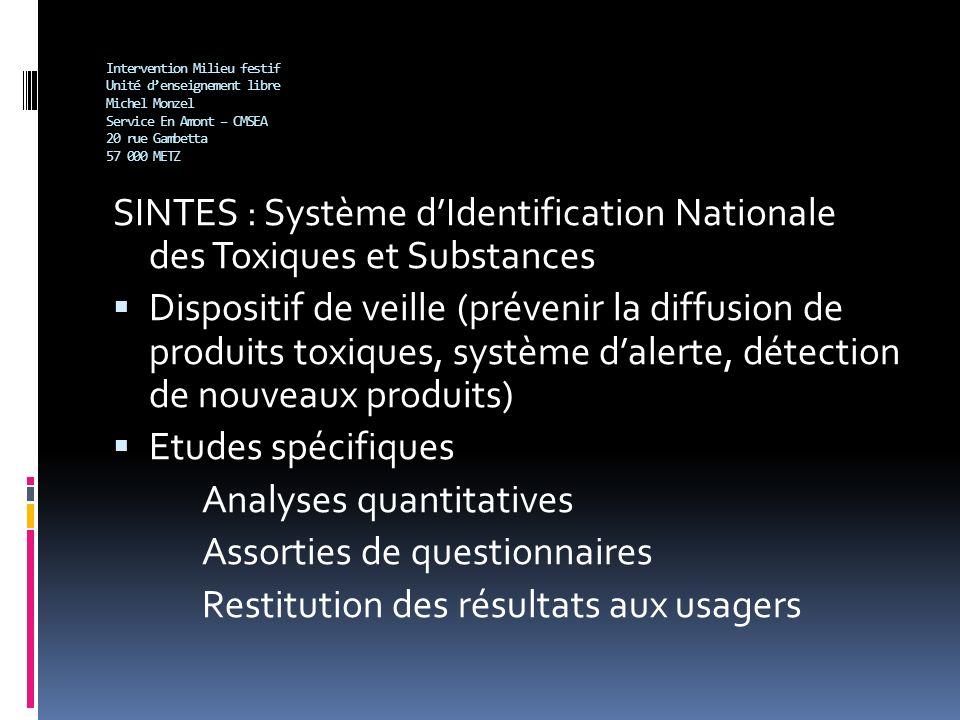 Intervention Milieu festif Unité denseignement libre Michel Monzel Service En Amont – CMSEA 20 rue Gambetta 57 000 METZ SINTES : Système dIdentificati