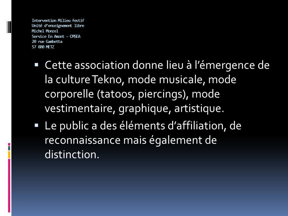 Intervention Milieu festif Unité denseignement libre Michel Monzel Service En Amont – CMSEA 20 rue Gambetta 57 000 METZ Cette association donne lieu à