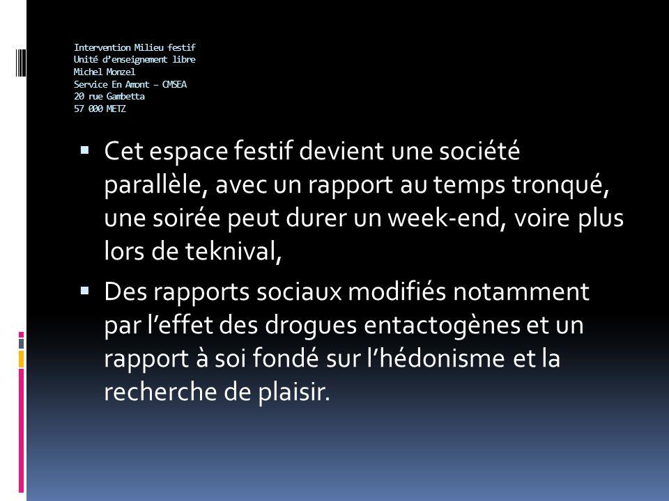 Intervention Milieu festif Unité denseignement libre Michel Monzel Service En Amont – CMSEA 20 rue Gambetta 57 000 METZ Cet espace festif devient une