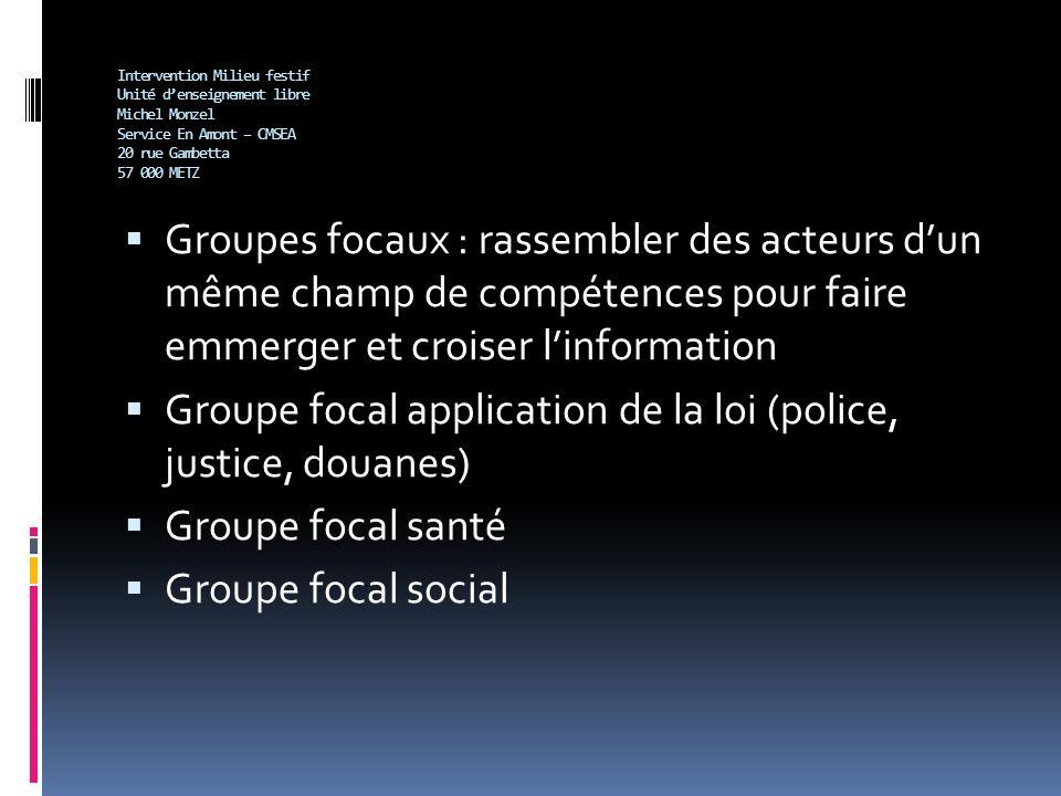 Intervention Milieu festif Unité denseignement libre Michel Monzel Service En Amont – CMSEA 20 rue Gambetta 57 000 METZ Groupes focaux : rassembler de