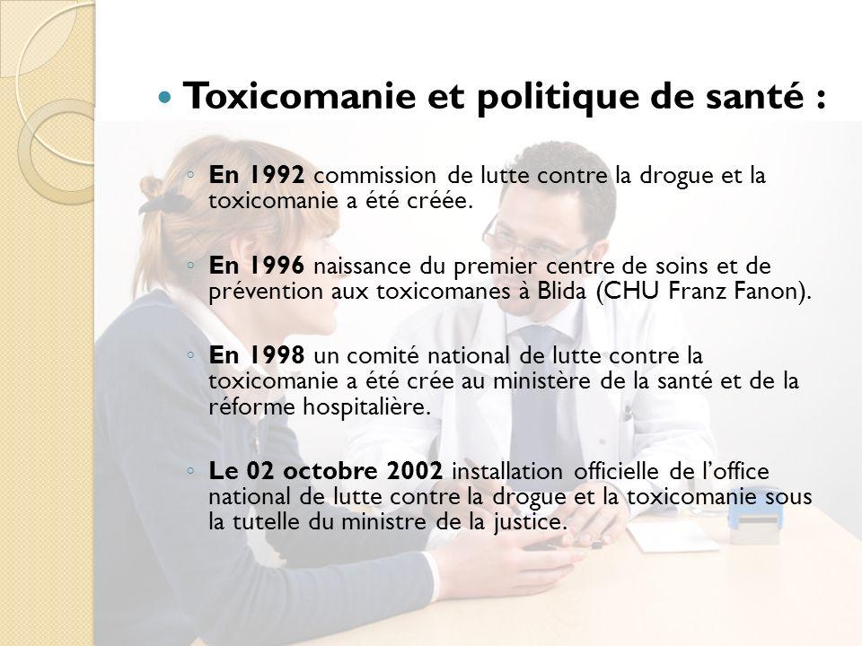 Toxicomanie et politique de santé : En 1992 commission de lutte contre la drogue et la toxicomanie a été créée.