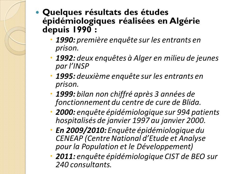 En 1990: Enquête épidémiologique sur les entrants en prisons : ¼ était toxicomanes.