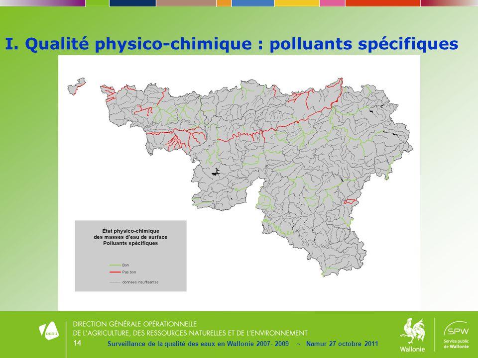 14 Surveillance de la qualité des eaux en Wallonie 2007- 2009 ~ Namur 27 octobre 2011 I. Qualité physico-chimique : polluants spécifiques