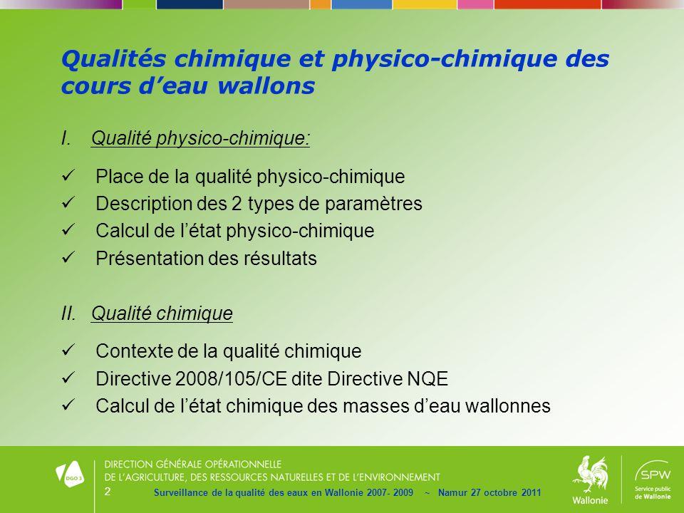 2 Qualités chimique et physico-chimique des cours deau wallons Surveillance de la qualité des eaux en Wallonie 2007- 2009 ~ Namur 27 octobre 2011 I.Qu
