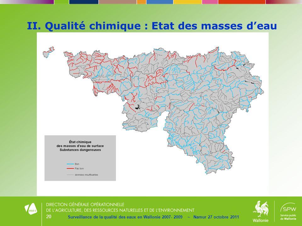 20 II. Qualité chimique : Etat des masses deau Surveillance de la qualité des eaux en Wallonie 2007- 2009 ~ Namur 27 octobre 2011