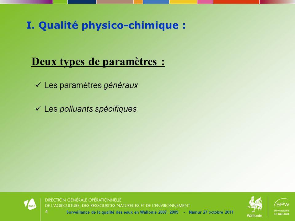 4 I. Qualité physico-chimique : Surveillance de la qualité des eaux en Wallonie 2007- 2009 ~ Namur 27 octobre 2011 Deux types de paramètres : Les para