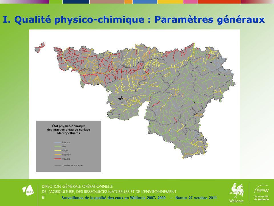 8 Surveillance de la qualité des eaux en Wallonie 2007- 2009 ~ Namur 27 octobre 2011 I. Qualité physico-chimique : Paramètres généraux