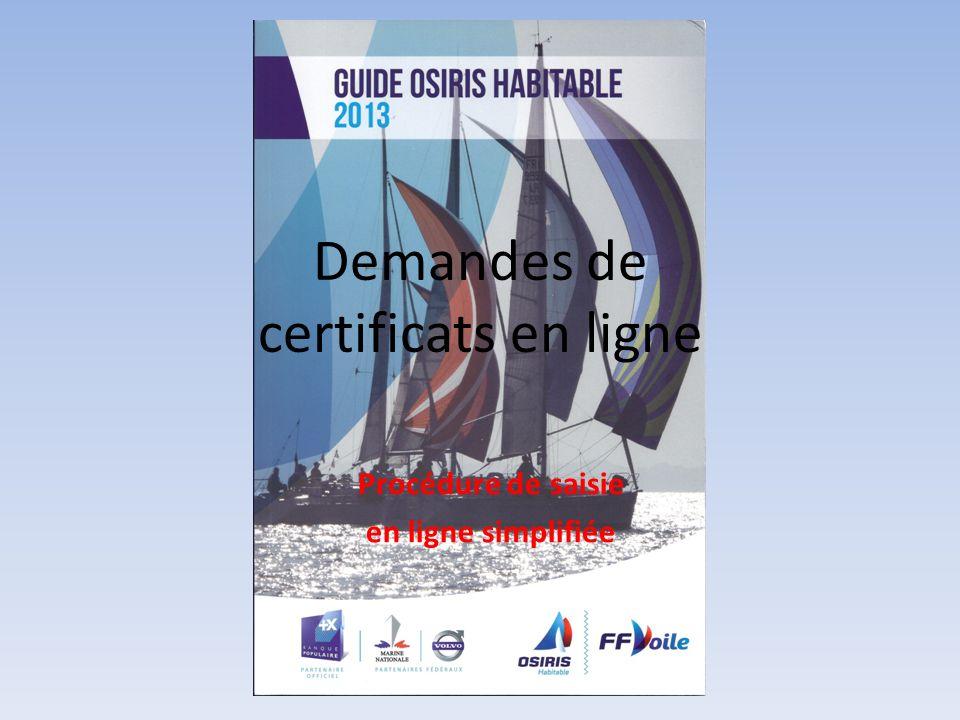 Demandes de certificats en ligne Procédure de saisie en ligne simplifiée