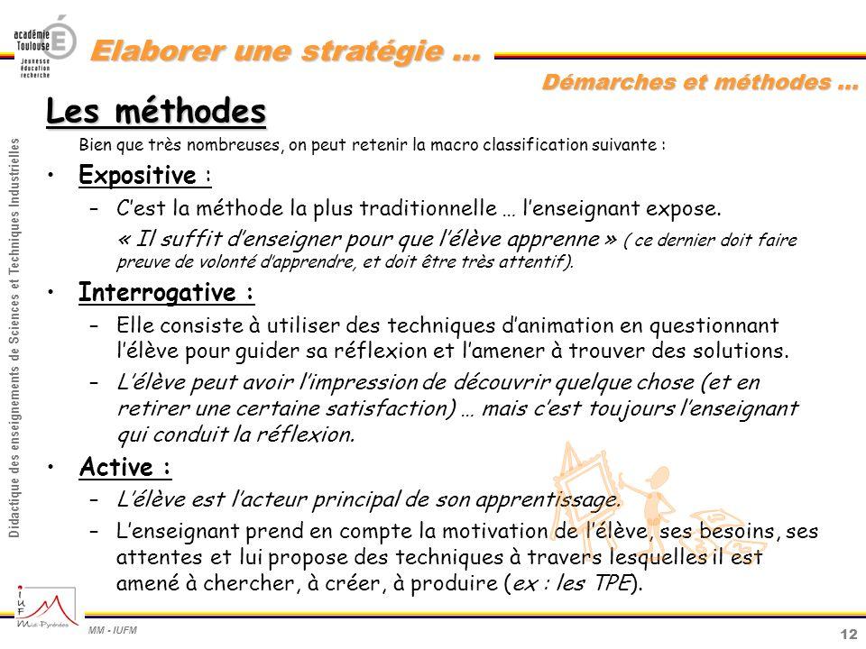 12 Didactique des enseignements de Sciences et Techniques Industrielles MM - IUFM Elaborer une stratégie … Démarches et méthodes … Les méthodes Bien q