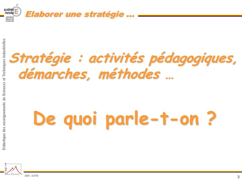 3 Didactique des enseignements de Sciences et Techniques Industrielles MM - IUFM Elaborer une stratégie … Stratégie : activités pédagogiques, démarche