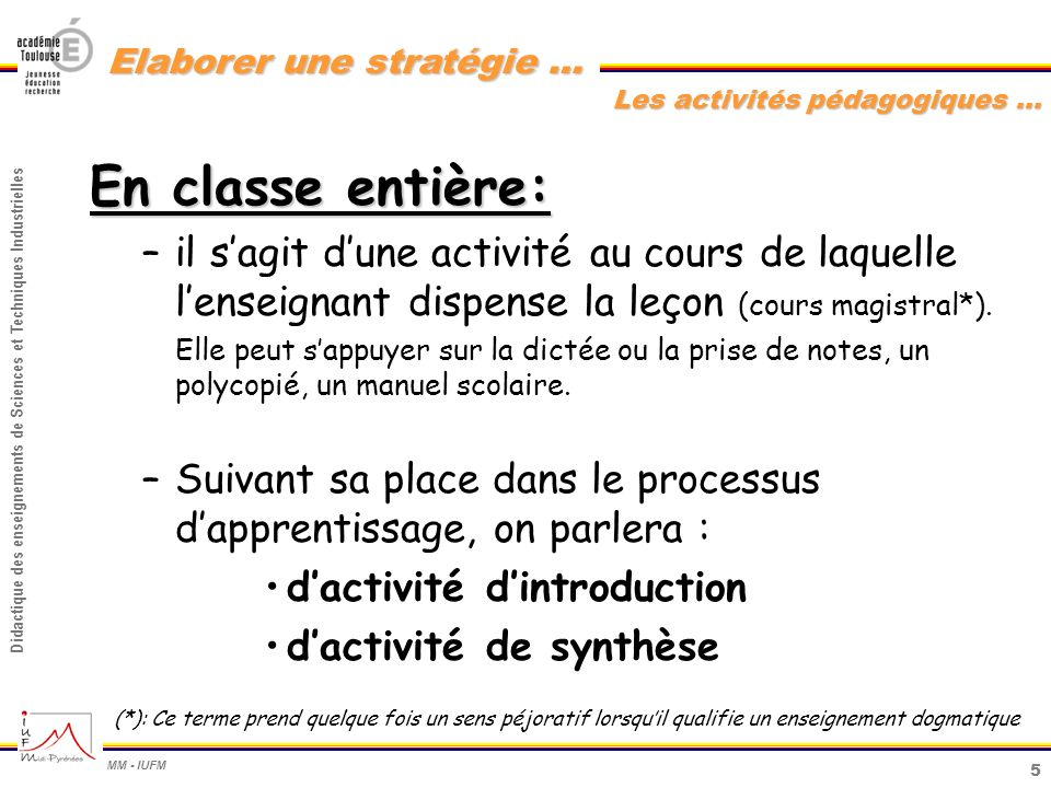 6 Didactique des enseignements de Sciences et Techniques Industrielles MM - IUFM Elaborer une stratégie … En classe entière : Lactivité dintroduction : –Elle précède les activités en groupe (de TP ou de TD).