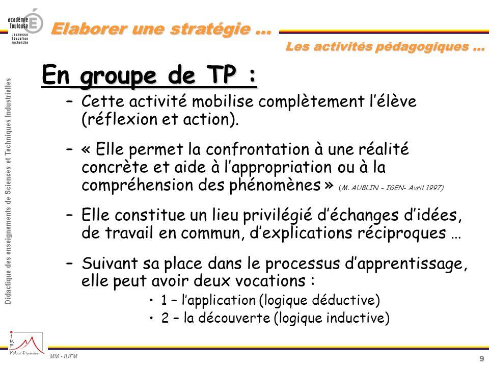 9 Didactique des enseignements de Sciences et Techniques Industrielles MM - IUFM Elaborer une stratégie … groupe de TP : En groupe de TP : –Cette acti