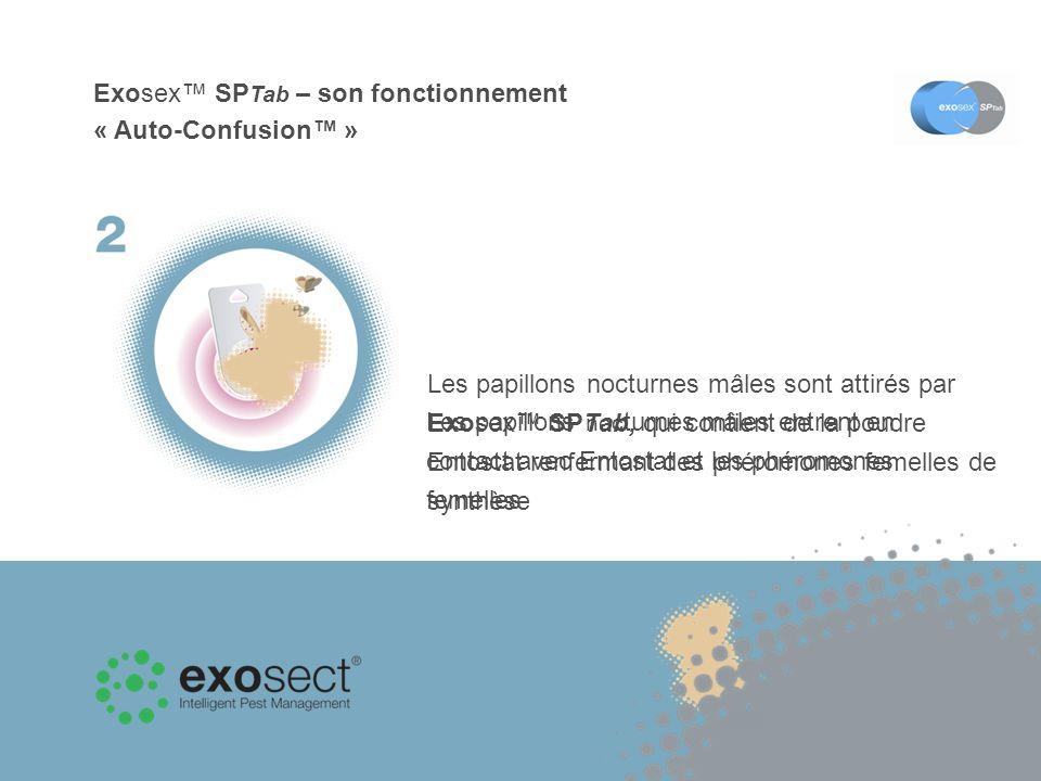 Exosex SP Tab – son fonctionnement « Auto-Confusion » Les papillons nocturnes mâles entrent en contact avec Entostat et les phéromones femelles Les récepteurs de phéromones des mâles deviennent saturés et les mâles ne peuvent donc plus localiser les femelles
