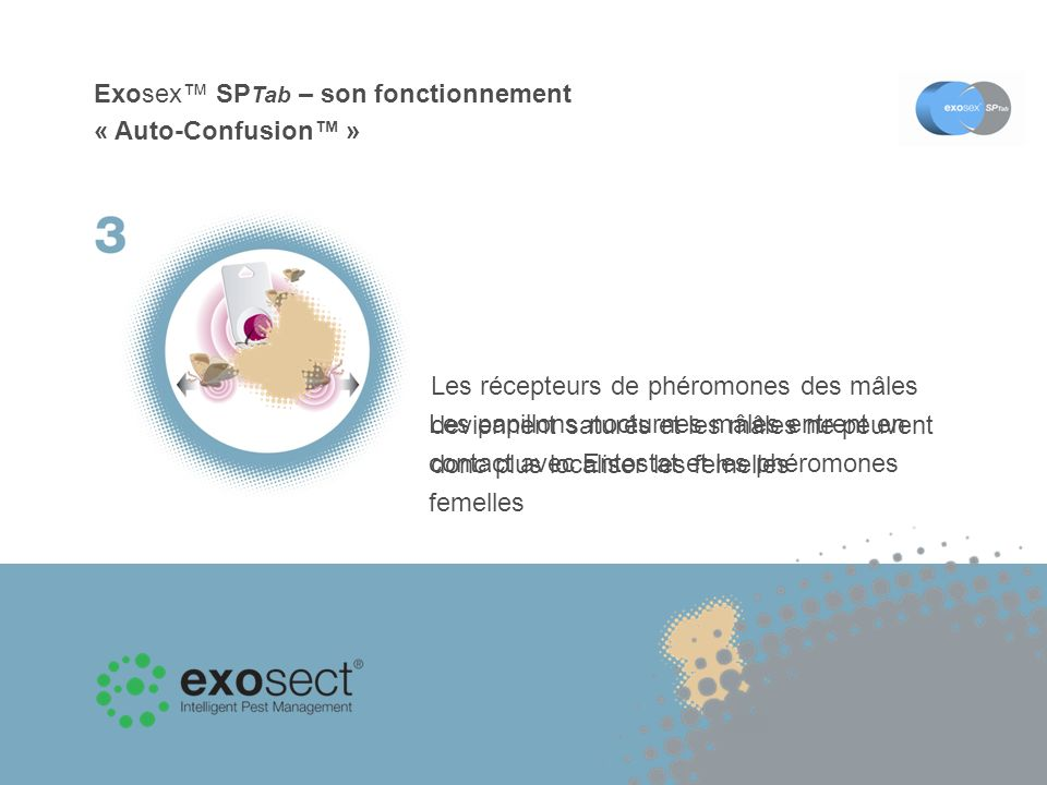 Exosex SP Tab – son fonctionnement « Auto-Confusion » Les papillons nocturnes mâles entrent en contact avec Entostat et les phéromones femelles Les ré