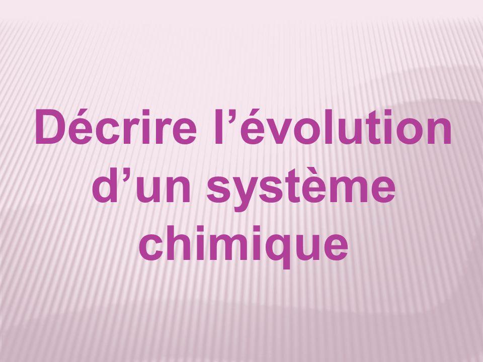 Décrire lévolution dun système chimique