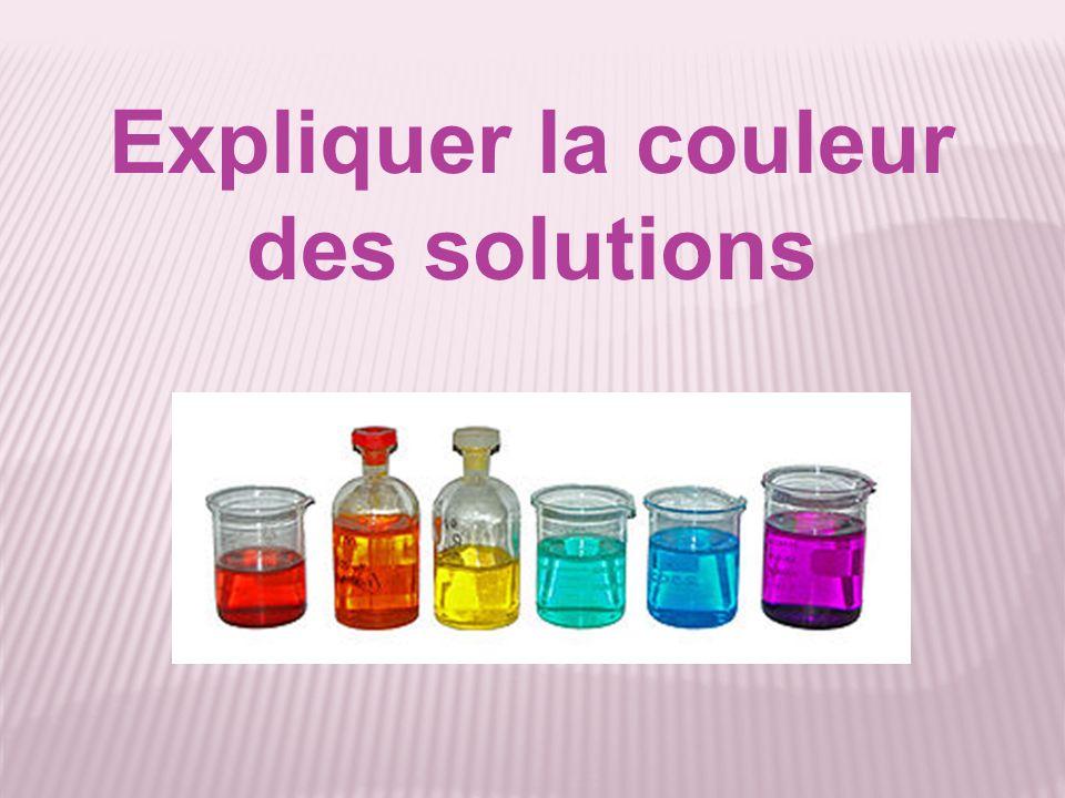 Expliquer la couleur des solutions