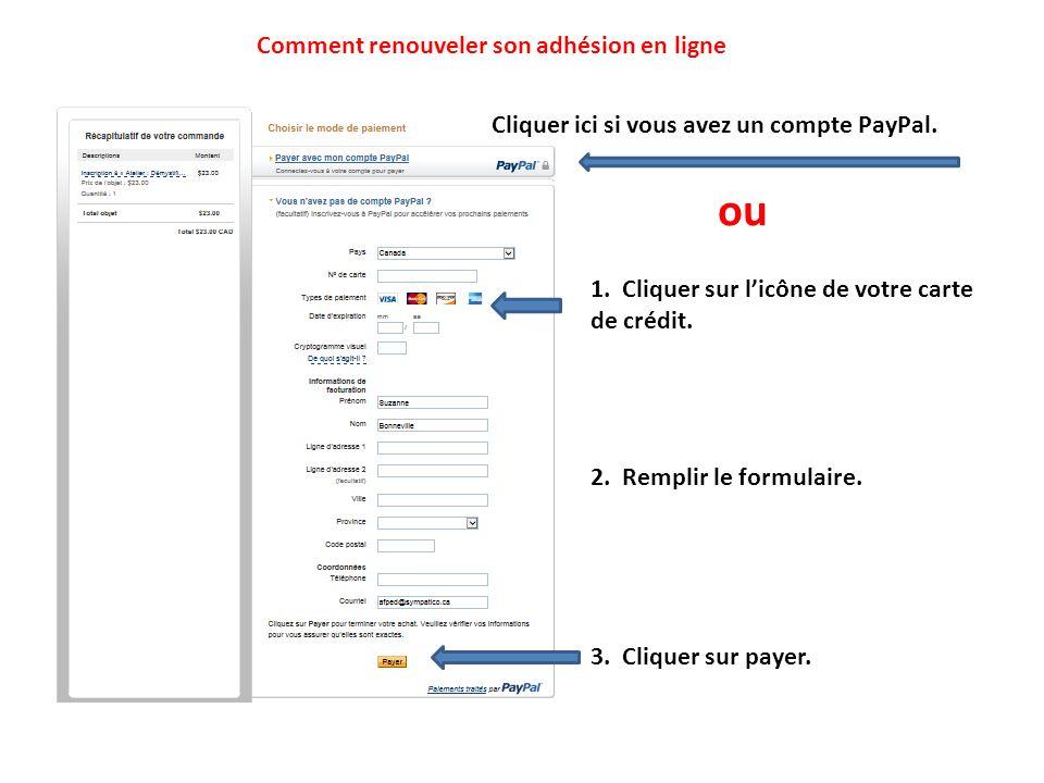 Cliquer ici si vous avez un compte PayPal. 1. Cliquer sur licône de votre carte de crédit. 2. Remplir le formulaire. ou 3. Cliquer sur payer. Comment