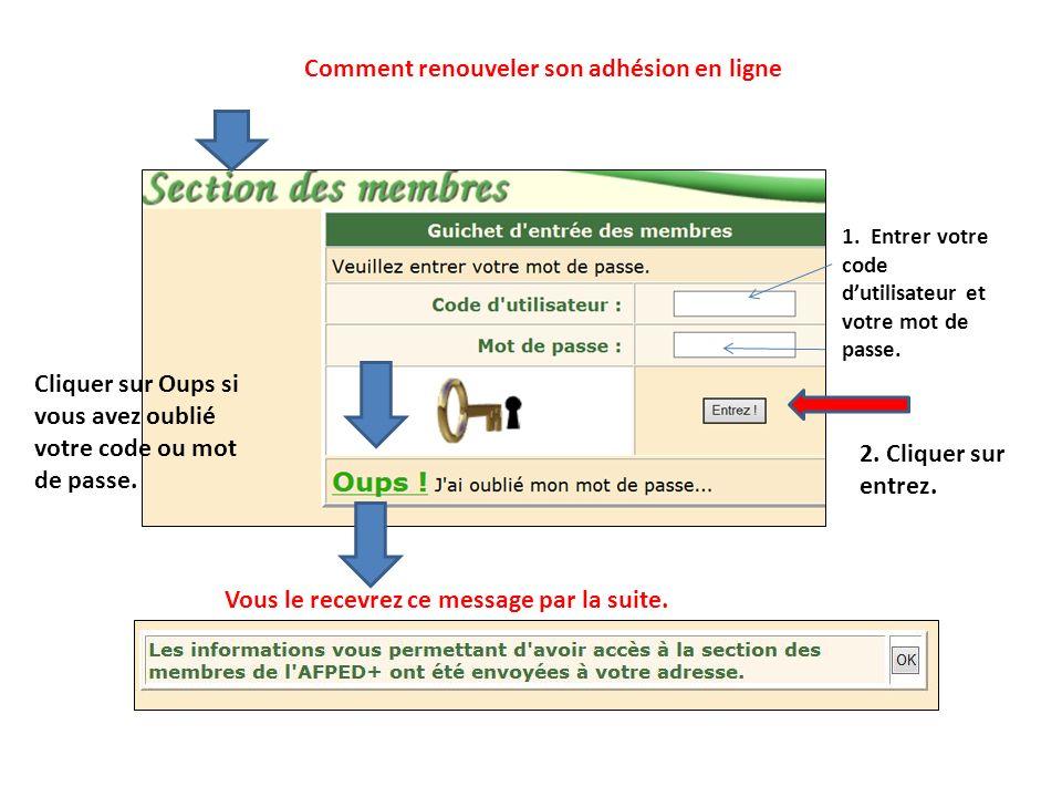 1. Entrer votre code dutilisateur et votre mot de passe. Cliquer sur Oups si vous avez oublié votre code ou mot de passe. Vous le recevrez ce message