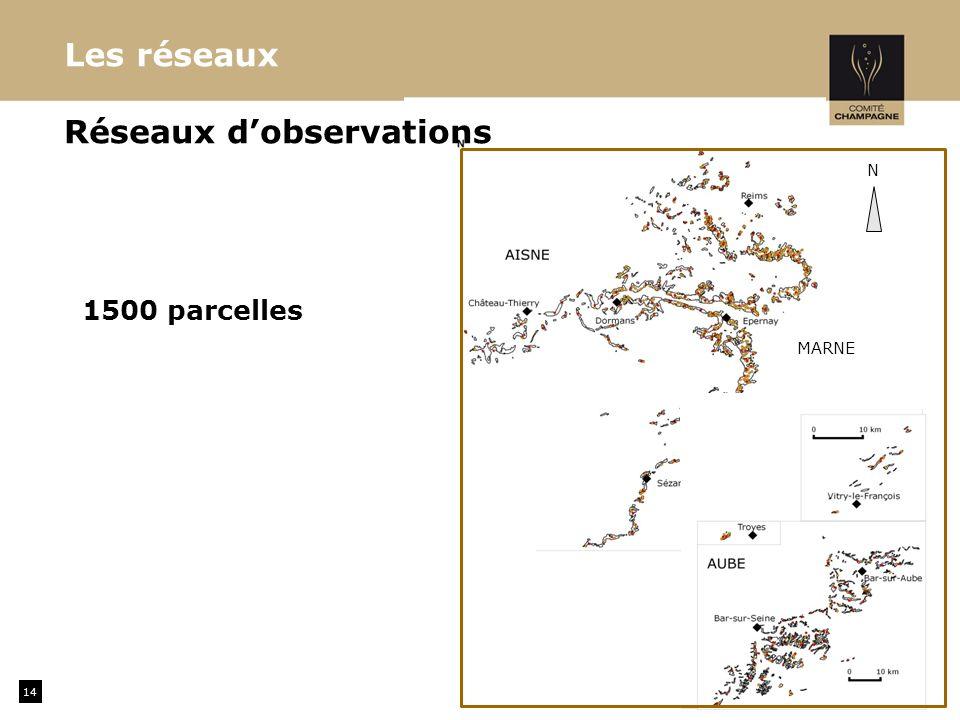 14 MARNE Réseaux dobservations Les réseaux N 1500 parcelles