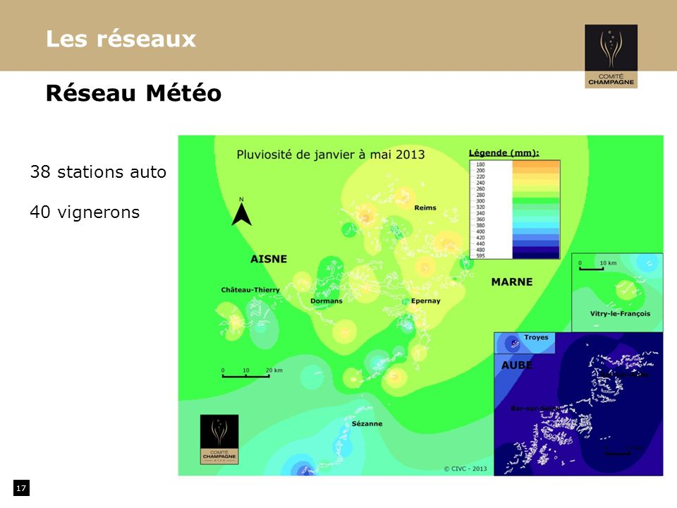 17 Réseau Météo Les réseaux 38 stations auto 40 vignerons
