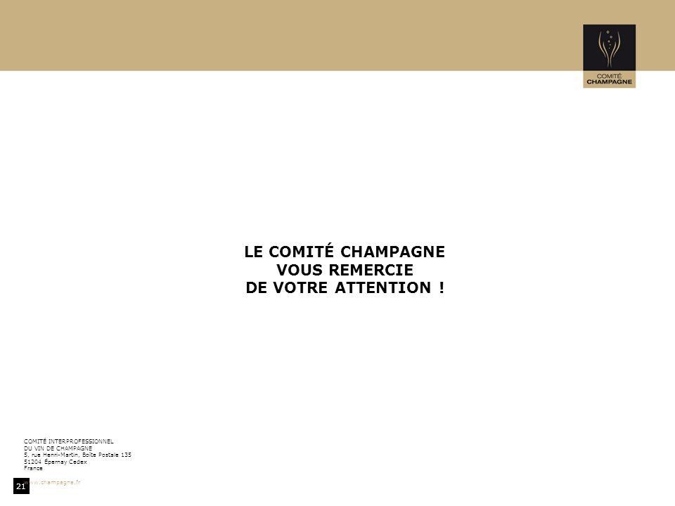 21 COMITÉ INTERPROFESSIONNEL DU VIN DE CHAMPAGNE 5, rue Henri-Martin, Boîte Postale 135 51204 Épernay Cedex France www.champagne.fr LE COMITÉ CHAMPAGNE VOUS REMERCIE DE VOTRE ATTENTION !