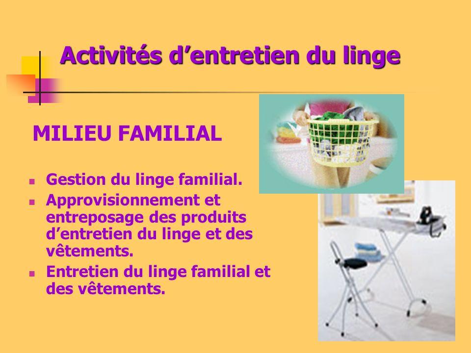 Activités dentretien du linge Gestion du linge familial. Approvisionnement et entreposage des produits dentretien du linge et des vêtements. Entretien