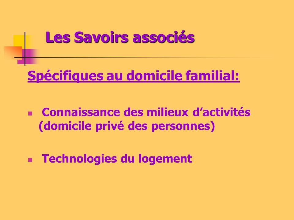 Les Savoirs associés Spécifiques au domicile familial: Connaissance des milieux dactivités (domicile privé des personnes) Technologies du logement