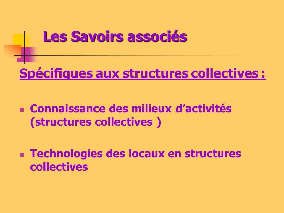 Les Savoirs associés Les Savoirs associés Spécifiques aux structures collectives : Connaissance des milieux dactivités (structures collectives ) Technologies des locaux en structures collectives
