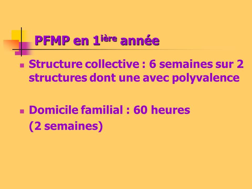 PFMP en 1 ière année Structure collective : 6 semaines sur 2 structures dont une avec polyvalence Domicile familial : 60 heures (2 semaines)