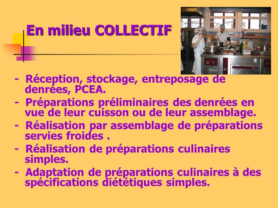 - Réception, stockage, entreposage de denrées, PCEA. - Préparations préliminaires des denrées en vue de leur cuisson ou de leur assemblage. - Réalisat