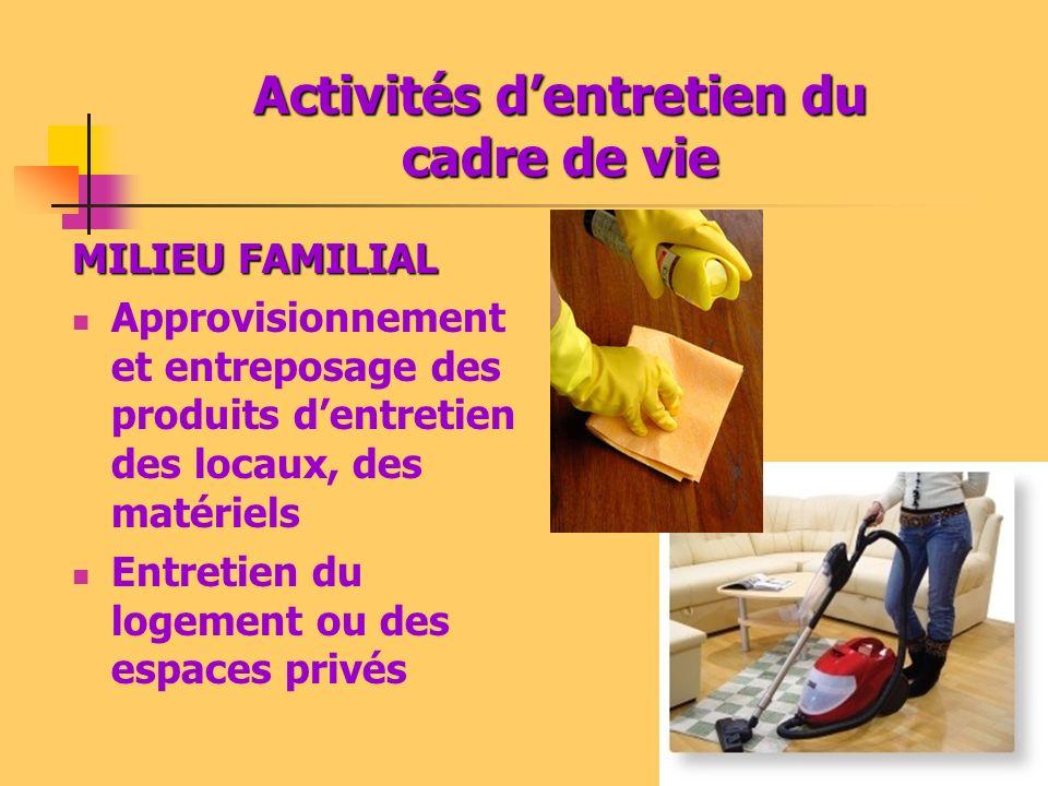 Activités dentretien du cadre de vie MILIEU FAMILIAL Approvisionnement et entreposage des produits dentretien des locaux, des matériels Entretien du l
