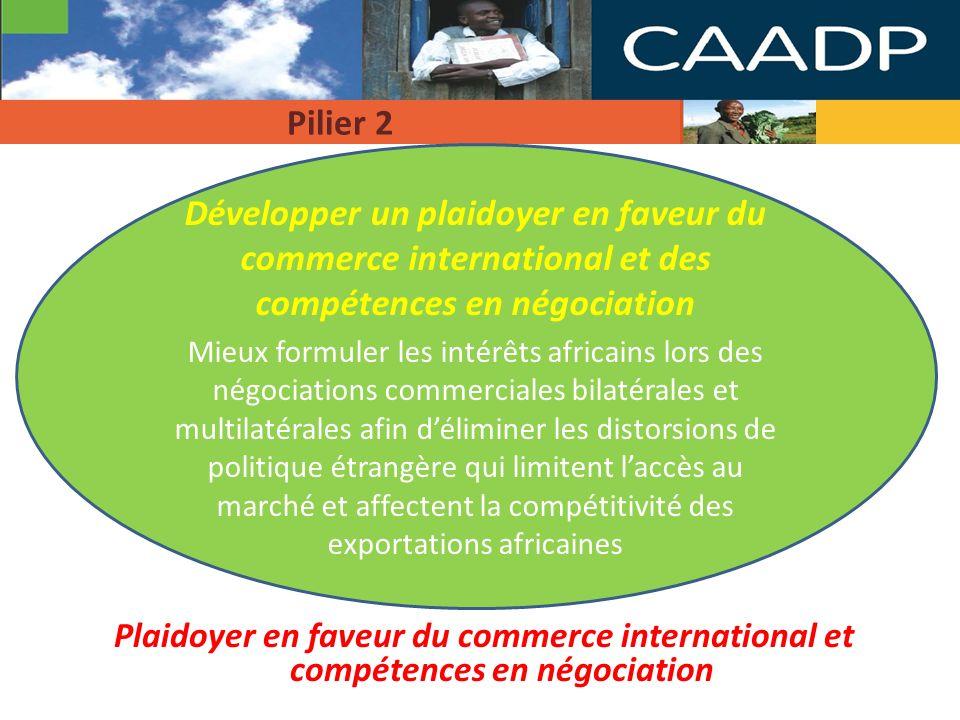 2 Développer un plaidoyer en faveur du commerce international et des compétences en négociation Lobjectif stratégique est de développer un plaidoyer en faveur du commerce international et des compétences de négociation afin de mieux formuler les intérêts africains lors des négociations commerciales bilatérales et multilatérales Faire le point sur les capacités des pays de la région et aider à la conception de(s) action(s) appropriée(s) afin de développer les capacités liées au commerce pour permettre aux pays dexécuter plus efficacement leurs rôles et fonctions Création dun organisme national (par ex.